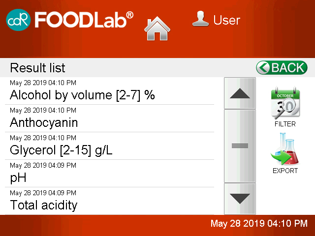 CDR FoodLab Systems Export Results