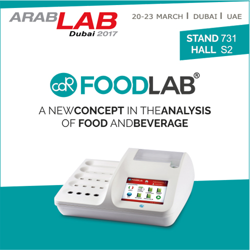 CDR FoodLab, food analysis system, at ArabLab 2017 - from 20 to 23 March - Stand 731 Hall S2