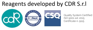 Reagents developed by CDR S.r.l - Quality System Certified ISO 9001 Ed. 2015 - Certificate n. 9115