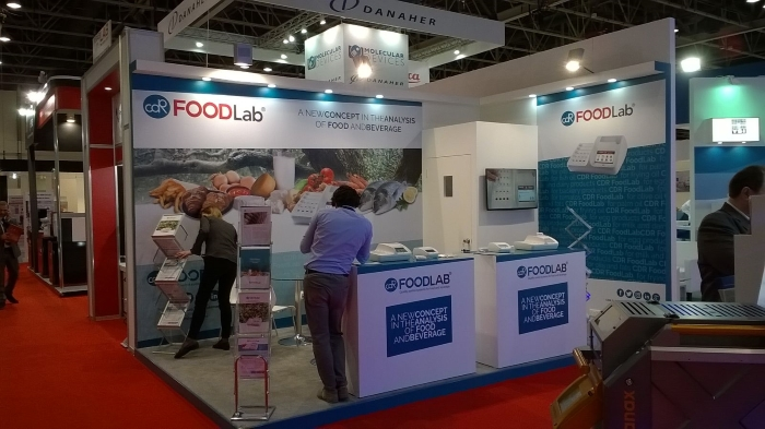 The CDRFoodLab Booth at ArabLab 2017:  It's time for the finishing touches - Dubai  International Exhibition Center - First Day 20th March