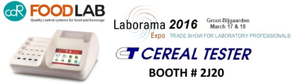 CDR FoodLab chemical analysis systems for the quality control of food and beverage at Laborama Expo 2016 with Cereal Tester