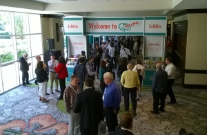 Professionals and insiders at Snaxpo 2015 entrance