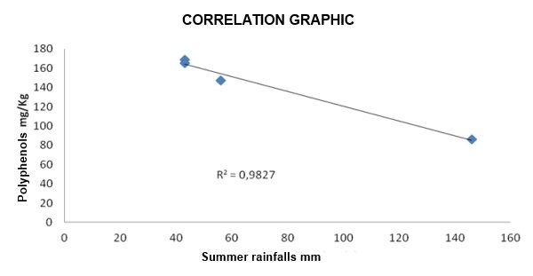 Correlation between polyphenols in olive oil and rainfalls' data