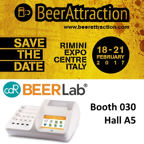CDR BeerLab,  chemical analysis system for beer,   at BeerAttraction 2017- Rimini Italy 18 / 21 February - Booth 030 Hall A5