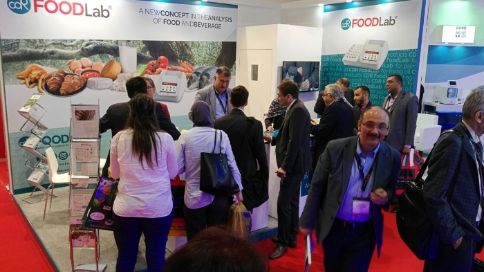 People at CDR FoodLab Booth - ArabLab 2017 - Dubai  International Exhibition Center - First Day 20th March