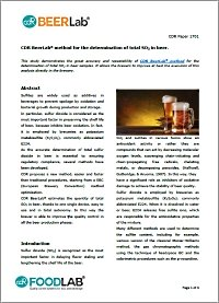 Study about so2 determination method in beer with CDR BeerLab